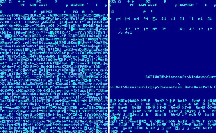Рис. 4. Визуальное отличие между упакованным и неупакованным кодом